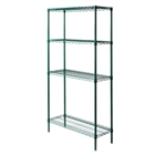 "14""d Green epoxy wire 4 shelf unit - 74""h"