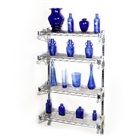 "8""d 4 Shelf Chrome Wire Wall Mounted shelving Kit from The Shelving Store"