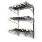 "3 Shelf Chrome Wire Wall Mounted Wine Shelf Kit-14""d"