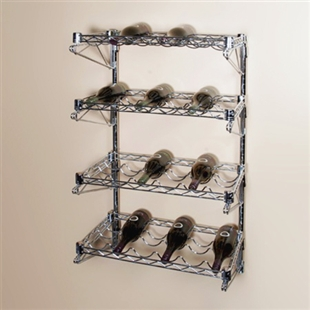 "14""d 4 Shelf Chrome Wire Wall Mounted Wine Shelving Kit"