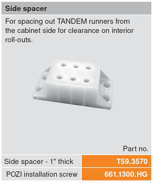 Blum 1 Quot Slide Spacer For Rollouts