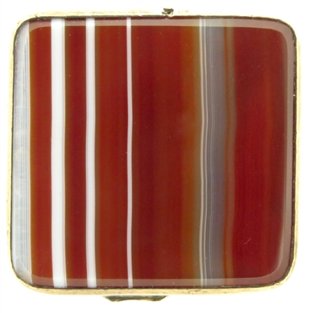 Gorgeous Banded Agate & Etched Brass Square Snuff Box
