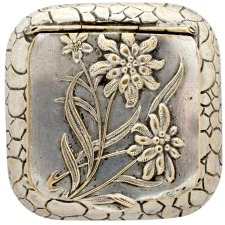Antique Art Nouveau Flowers and Leaves Embossed on Silver Plated Patch Box