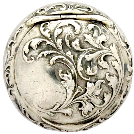 Sterling Silver Art Nouveau Style Patch Box with Embossed Floral Vines