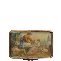 Romantic Couple with Birdcage, Finely Painted on Ivory, Decorates Victorian Italian Snuff Box