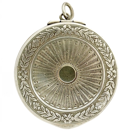 Ravishing Sterling  Antique Compact Embossed with Beautiful Garland