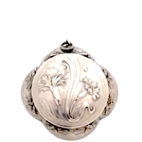 Sterling Silver Art Nouveau Quatrefoil French Patch Box with Gorgeous Embossed Carnations