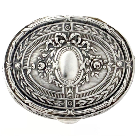 Perfect Antique Coin Silver Snuff Box with Finely-Done Repoussé Ribbons, Botanicals & Garlands