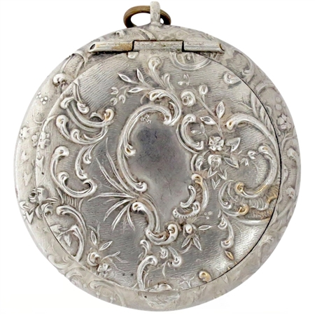 19th Century Silver-Plate Patch Box Festooned with Arabesque Flowers and Leaves