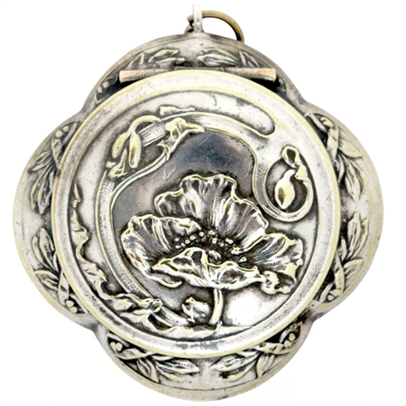 Art Nouveau Quatrefoil French Patch Box with Stunning Embossed Poppy