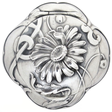 Gorgeous Handmade Singular Chrysanthemum on Antique Coin Silver Quatrefoil French Patch Box