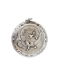 Sterling Silver 19th Century Patch Box with Splendid Flowers and Leaves (NEW)