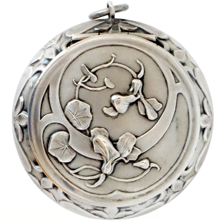 Sterling Silver 19th Century Patch Box with Cyclamen Flowers and Leaves on Front and Back