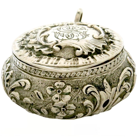 Extraordinary Sterling Silver Antique Patch Box with Ornate Decorations (NEW)