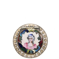French Enamel Compact with Portrait, Sword, Crown