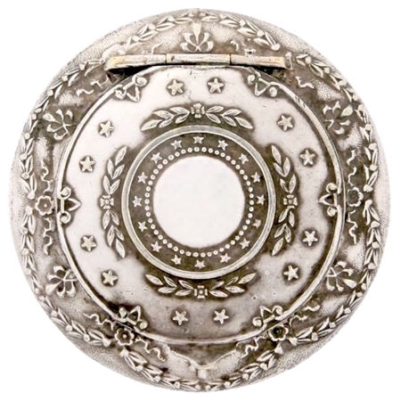 Galaxy of Embossed Stars Decorate an Antique Silver-plated Patch Box
