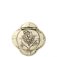 Art Nouveau Quatrefoil French Patch Box with Stunning Embossed Flower