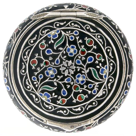 Ornately Enameled Flowers, Buds and Leaves on 800 Silver and Niello Antique Patch Box (NEW)