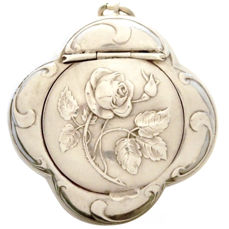 (NEW) Gorgeous Embossed Rose and Leaves on Sterling Silver Antique Quatrefoil French Patch Box