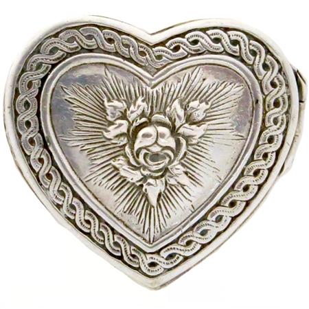 Heart-Shaped Sterling Silver Antique Patch Box