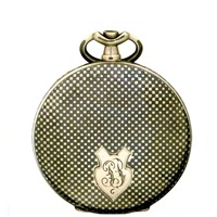 Antique Two Sided Niello Enamel Watch Case With Chic Checkerboard Pattern