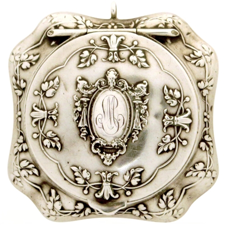 Rare Octagonal 19th Century Sterling Silver Patch Box with Stunning Embossed Faun, Leaves and Flowers