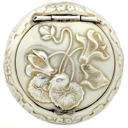 Embossed Cyclamen Flowers and Leaves  Decorate Sumptuous Sterling Silver Patch Box