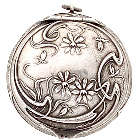 Beautiful Embossed Flowers, Buds, and Vines on antique Sterling patch box