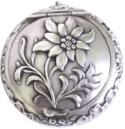 Sterling Silver Antique Patch Box with Exquisite Flower and Baby Rose Sprays - SOLD