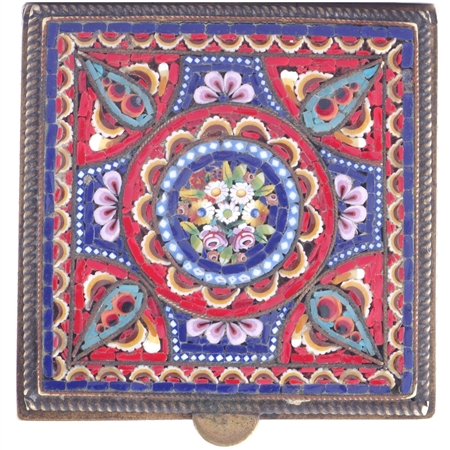Antique Italian Micro Mosaic Compact - SOLD