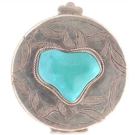 Vintage Engraved Silver Box with Exquisite Turquoise