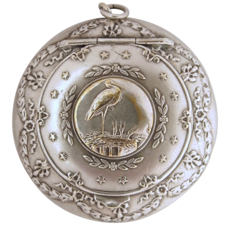 Embossed Crane and Nest Festooned with Stars Decorate Antique Silver Plated Patch Box