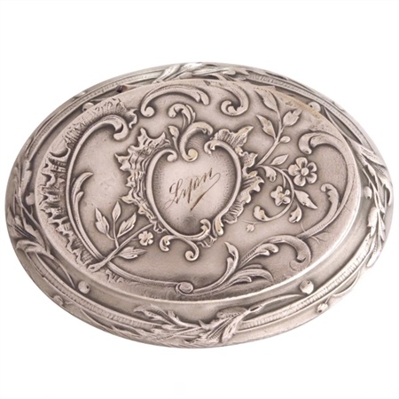 Nineteenth Century Louis XVI Silver Plate Patch Box with Embossed Rococo Pattern of Leaves, Flowers and Shells