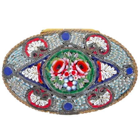 Fine Antique Italian Micro Mosaic Oval Snuff Box Festooned with Flowers and Shells