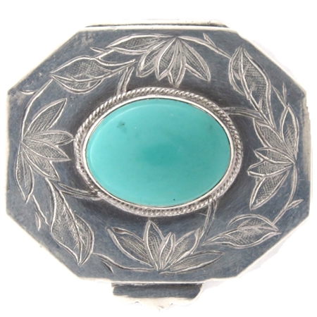 Vintage Octagonal Hand-Chased Sterling Silver Case with Oval Cabochon Turquoise