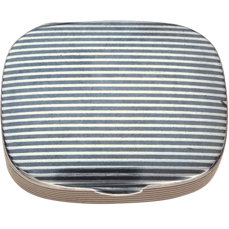 Antique Solid Silver Patch Box with Striking Niello Stripes