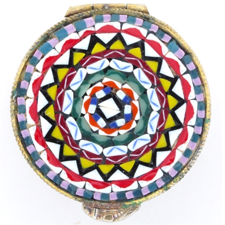 Antique Venetian Millefiori Micro Mosaic Snuff Box Beautifully Detailed in Vivid Colors