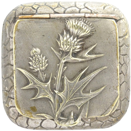Extraordinary Thistles and Leaves Embossed on Silver Plated Patch Box circa 1900