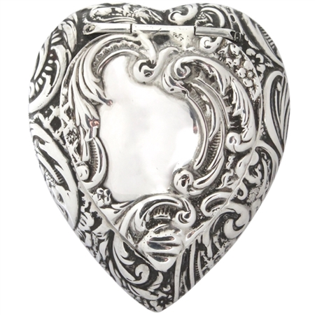 Stunningly Beautiful and Intricate Sterling Silver Embossed Antique Heart Patch Box