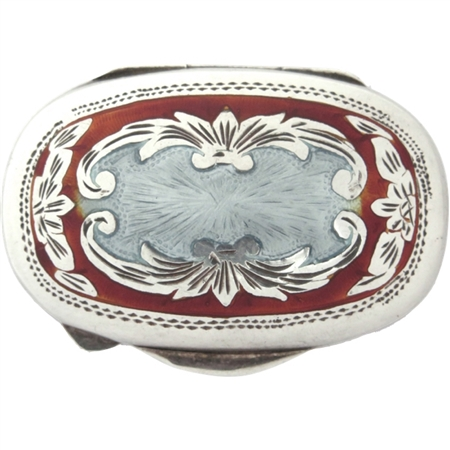 Sterling Silver Guilloché Oval Box Inlaid with Gorgeous Red Enamel