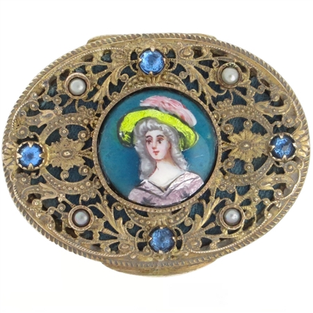 Delightful Oval 1880's French Limoges Enamel Portrait Bronze Compact