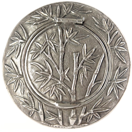 Antique Silver Patch Box with Lush Repoussé Jungle and Animals