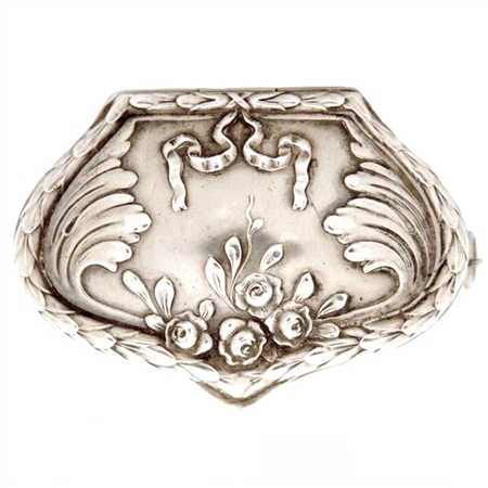 Large .800 Silver Antique Patch Box with Flowers