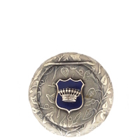 Brass Patch Box with Morning Glories and Blue Enameled Shield with Raised Crown