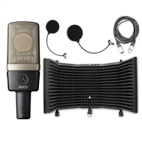AKG C314 Multi-Pattern Condenser Microphone with AxcessAbles SF-101 Microphone Shield, Cable and Pop Filer