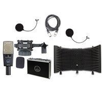 AKG C414XLS Reference Multi-Pattern Condenser Microphone with AxcessAbles SF-101 Microphone Isolation Shield, Cable, and Pop Filter