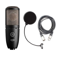 AKG P220 High-Performance Large Diaphragm True Condenser Microphone with AxcessAbles XLR-XLR20 Audio Cable and AxcessAbles Windpop Universal Microphone Pop Filter