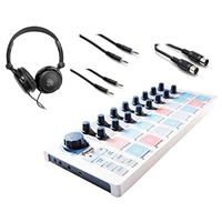 Arturia Beatstep MIDI Controller & Sequencer w/ AxcessAbles Headphones and Hosa Audio Cables