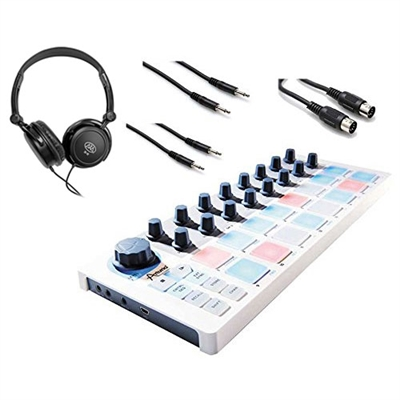 Arturia BeatStep Midi Controller Sequencer with Headphones and Cables, ARTBEATSTEP-BUNDLE-2, BEATSTEP