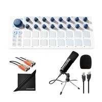 Arturia Beatstep MIDI Controller & Sequencer w/ AxcessAbles Condenser Microphone, MIDI Cable and eStudioStar Polishing Cloth